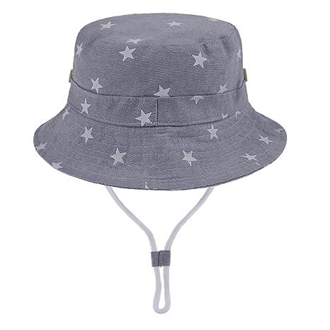 92a59bb0b346 Chapeau de Seau Bébé en Coton Anti-UV Bonnet de Soleil Plage Vacances  Voyage Pêche