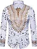 WHATLEES Mens Hipster African Tribal Dashiki Long Sleeve Slim Fit Casual Button Down Dress Shirts Tops T4419-White-X-Large