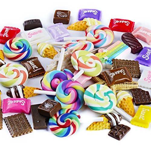 TSLIKANDO 80pcs Slime Charms with Candy/Chocolates/Ice Creams/Lollipops Slime Beads Resin Flatback for Scrapbooking DIY Crafts -