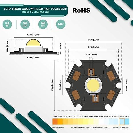 5x di Alta Prestazione Led Chip 3w Verde Highpower Star Led