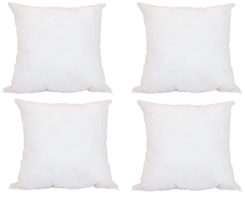 Pillowflex Set of 4 Premium Indoor Outdoor Polyester Pillow Form Insert Hypoallergenic Stuffer 17 x 17 Inches