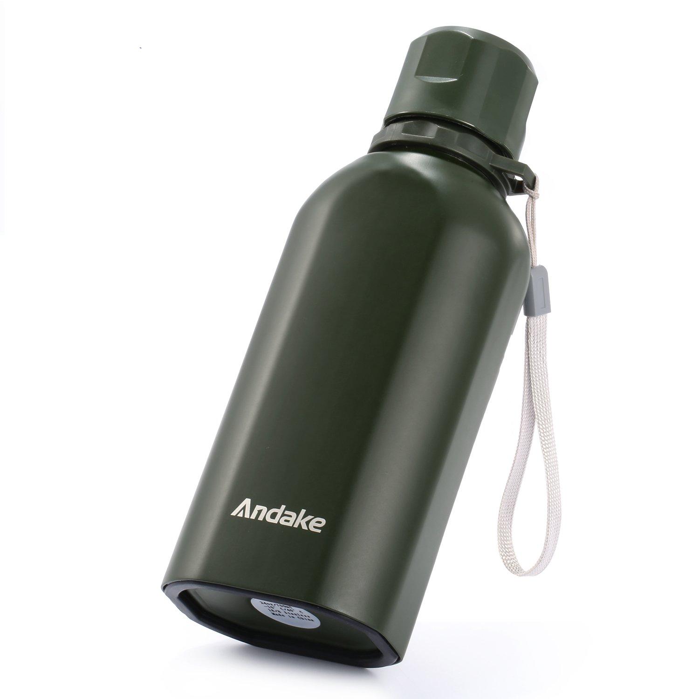 Andake Botella de Agua de Acero Inoxidable 700ml BPA Material ecol/ógico Libre Dise/ño Militar Ideal Office Sport