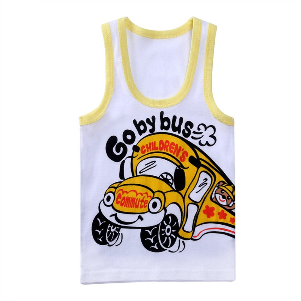 Tortor 1bacha Baby Kid Boys Cute Print White Jersey Tank Top