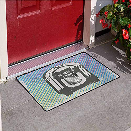 Jinguizi Jukebox Welcome Door mat Radio Party Dark Grey Vintage Music Box with Abstract Grunge Colorful Stripes Image Door mat is odorless and Durable W47.2 x L60 Inch Multicolor