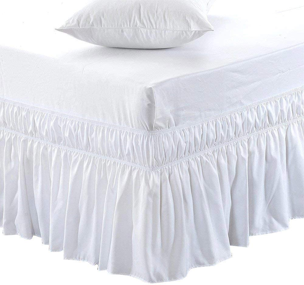 Amazon Com Black Friday Cyber Monday Deals Ruffled Wrap Around Bed Skirt 28 Inches Drop Easy Fit Olympic Queen Size White Solid Available For All Bed Sizes And Colors Home Kitchen