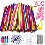 300Pack Animal Ballooons Magic Balloons Kits Latex Modeling Twisting Balloons Long Balloons For Animal Shape Party Decoration(With Pump& Eye Sticker&Wiggle Eyes)