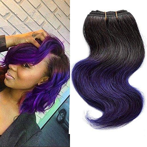 Cheap 4 Bundles Body Wave Brazilian Hair Weave Short Bob Ombre 1b/Purple Two Tone 7a Body Wave Human Hair Extensions 200g (Pack Purple)