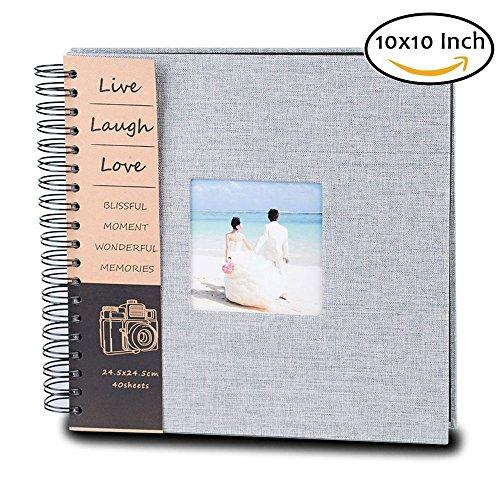 QanCen DIY Scrapbook Photo Album 80 Pages Burlap Cover Album Craft Paper Album, 10 x 10 Inches, with Photo Album Storage Box for Anniversary, Valentines ect! by QanCen