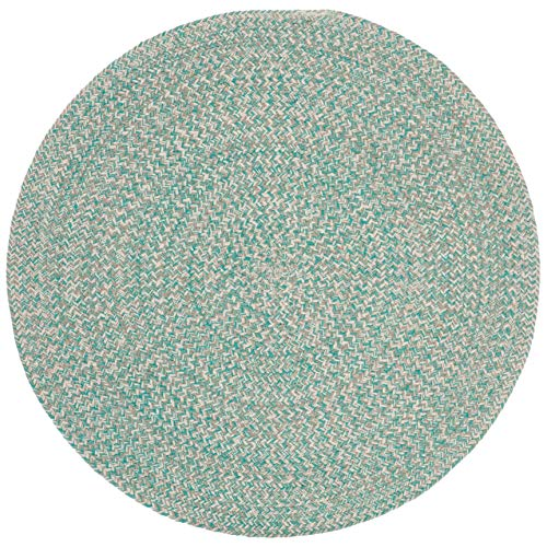 5ft Braided Circular Rug, Teal Ivory Braid Weave Round Area Rug, Light Turquoise Off-White Indoor Carpet Country Farmhouse Theme Circle Floor Mat Bedroom Living Dining Room Kitchen, Hand-Woven Cotton
