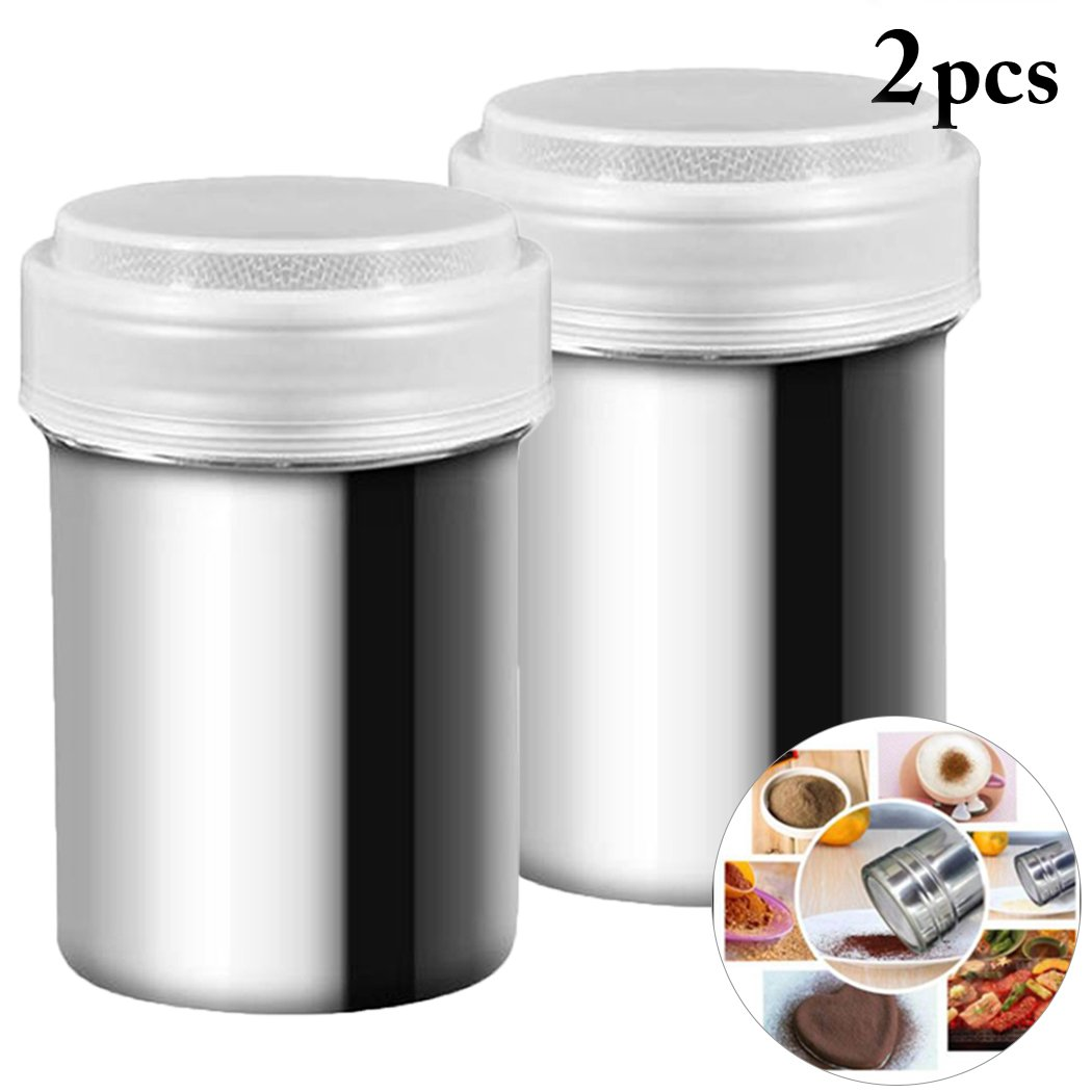 Powder Shaker, outgeek Kitchen Powder Shaker Mesh Stainless Steel Spice Shaker Seasoning Shaker Bottle