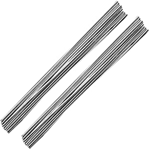 Aluminum Welding Rods, Linkhood 20-Pack Universal Low Temperature Aluminum Welding Cored Wire for Electric Power, Chemistry, Food, Silver 0.08 x 10in/2 x 250mm