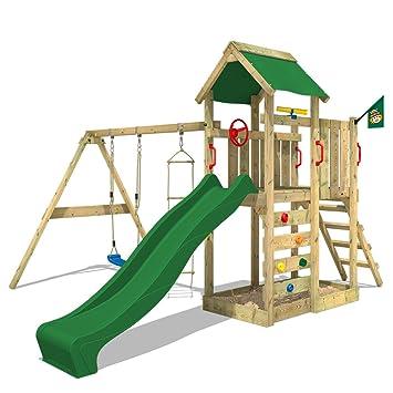 wickey torre de escalada multiflyer parque infantil jardn con columpio tobogn y muro para trepar
