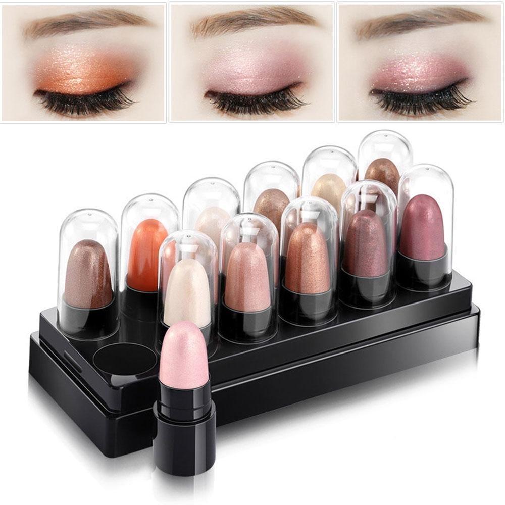12 Colors Smoky Eyeshadow Palette Pink Eyeshadow Stick/FOONEE Waterproof Eyeshadow Pen 2 Set to Select