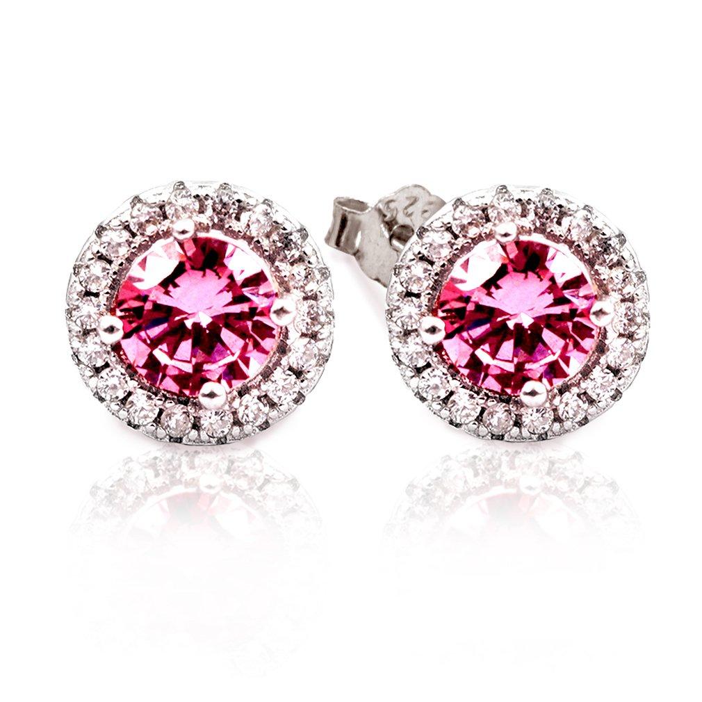 Halo Stud Earrings for Women | 925 Sterling Silver Earrings | Nature Magenta Stone (0.75 Carats) | Sparkle Earrings for Women Girls