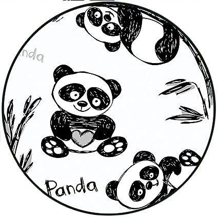 Amazon Com Short Plush Round Area Rug Cheerful Panda In Different