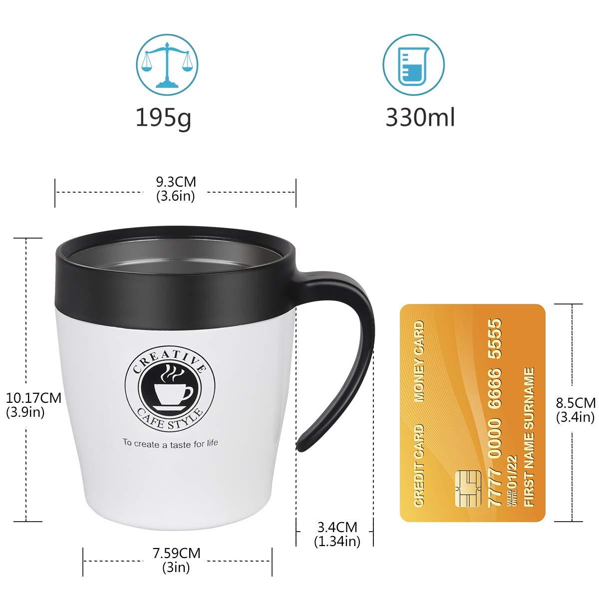 Coffee NUOSEM 330 ML Kaffeebecher to Go Thermo mit Deckel Cocktails Bier Golden Doppelwandig Vakuumisolierter Edelstahlbecher sp/ülmaschinenfest thermobecher caf/é f/ür Tee Griff und Kaffeel/öffel