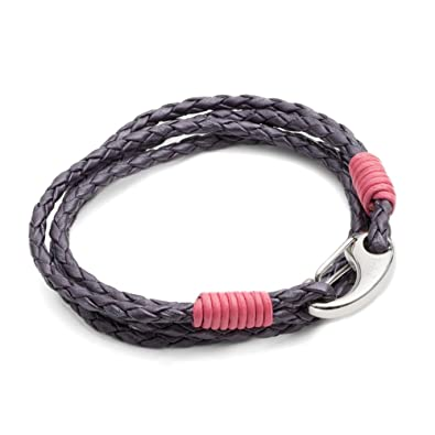 Tribal Steel 19cm 2-Strand Berry Coloured Leather and Stainless Steel Bracelet with Heart Charm bZ7R2F1