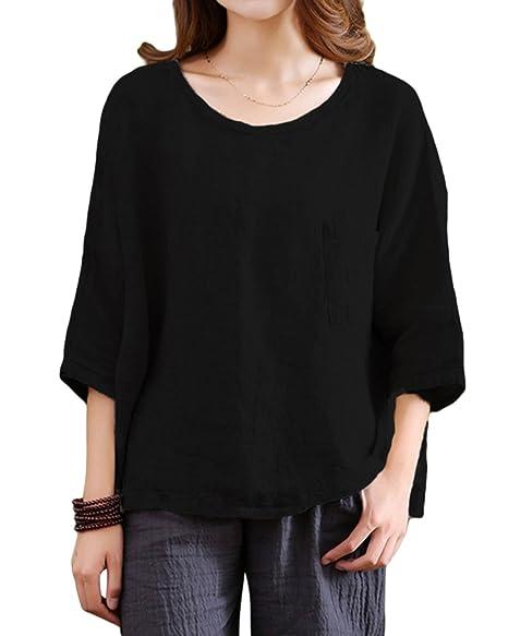 d859e14c4be GZBQ Women Summer 3 4 Sleeve Cotton Linen Loose Plus Size Top Blouse T-