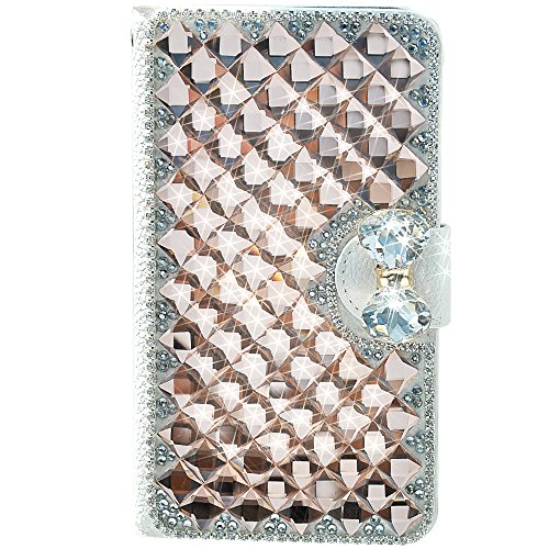 Touch 5 Case, Champagne Glittery Deluxe Bling Diamante Bow Bowknot White Leather Wallet Case with Credit Card Slot Flip For Apple iPod Touch 5 5G + Gift Free Stylus (random color) + one Free Unique Butterfly Anti Dust Earphone Jack Plug - Leather Deluxe Ipod Case