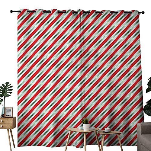 - NUOMANAN Curtains Candy Cane,Bicolor Stripes and Lines Festive Traditional Design Seasonal Pattern,Red Fern Green White,Thermal Insulated Panels Home Décor Window Draperies for Bedroom 120