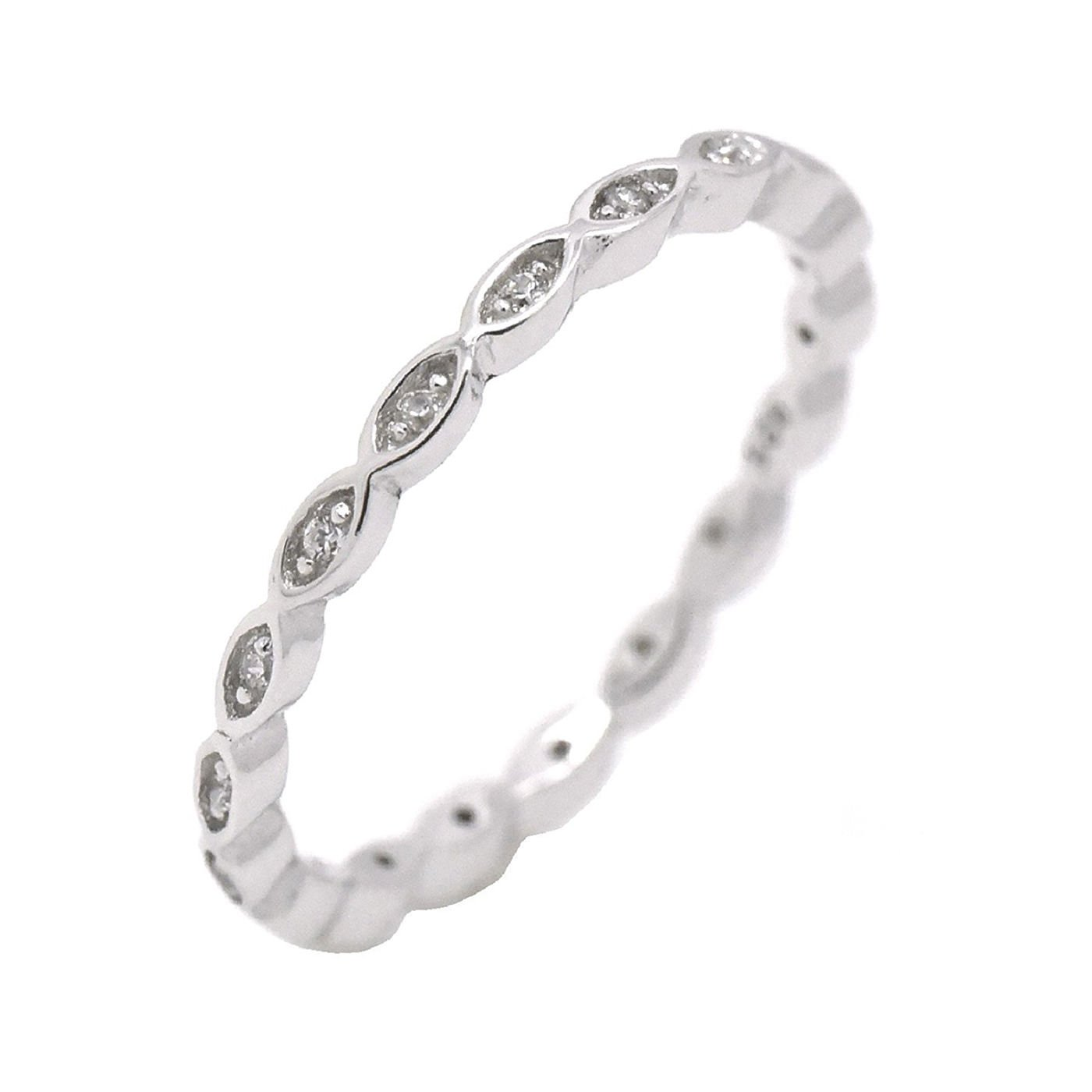 Eternity Band Sterling Silver Clear Cubic Zirconia Midi Knuckle Stackable Promise Ring Size 12