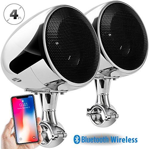 GoldenHawk 300W 4' Full Range Waterproof Bluetooth Wireless Motorcycle Stereo Speakers 7/8-1.25 in. Handlebar Mount Music Player Audio Amp System Harley Touring Cruiser ATV UTV Jet Ski (Chrome)