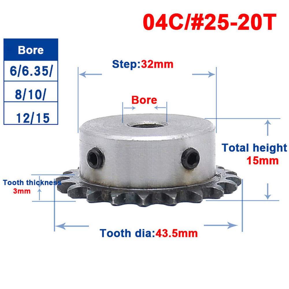 20T 1//4 #25 Chain Drive Sprocket 6mm Bore #25 04C Chain Drive Bore:6mm