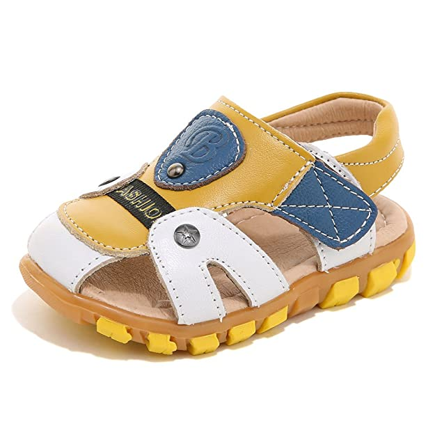 HOBIBEAR Boy's Girl' White/Yellow Closed-Toe Leather Sport Sandal(Toddler/Little Kid)