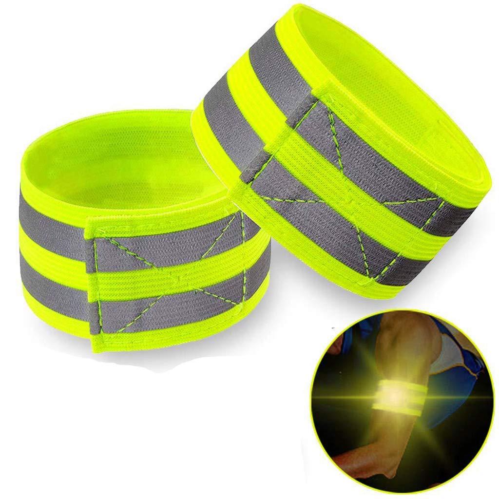 Reflektierendes Armband,verstellbarer Gurt Sicherheitslicht Armbänder Nachts leuchten Laufbekleidung zum Joggen, Spazierengehen, Radfahren, Outdoor Sports (2pcs Armbänder+2pcs Reflektierender Ring)