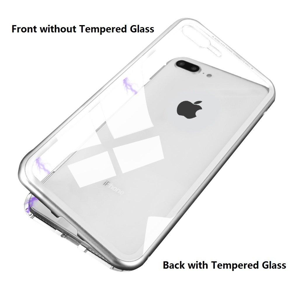 Funda iPhone 7/8, cuerpo completo Slim Fit Ultra-Thin Case Lightweight, [Cubierta magnética] [Marco de metal] [Clear Tempered Glass Back] [Soporte de carga inalámbrica] para iPhone 7/8 Funda