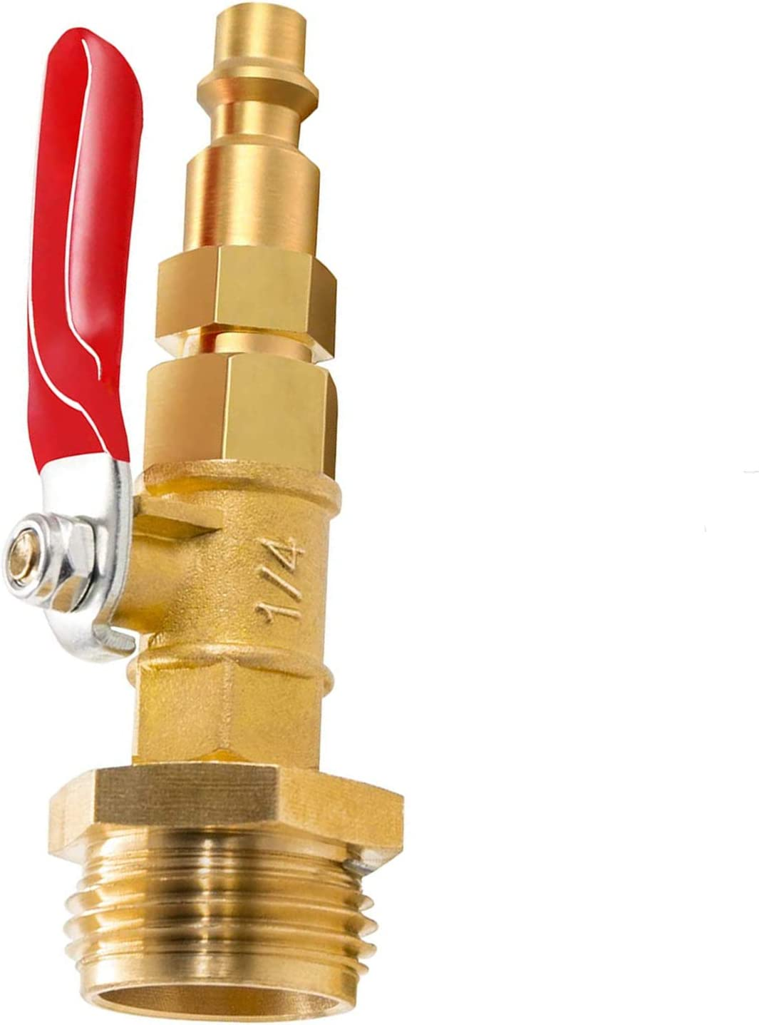 Winterize Blowout Adapter with 1/4 Inch Male Quick Connect Plug and 3/4 Inch Male GHT Thread, Brass Quick Fitting with Ball Valve for Blowing Out Water to Winterize Garden Hose, Sprinkler Systems