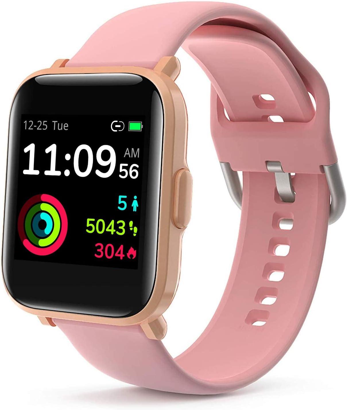 LIDOFIGO Reloj Inteligente Smartwatch Pantalla Táctil Actividad Inteligente IP68 Impermeable Reloj de Fitness Monitor de Sueño Pulsómetro Brújula Podómetro Cronómetro Smart Watch Mujer Rosa