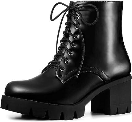 Platform Chunky Heel Combat Boots
