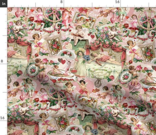 Spoonflower Victorian Cherubs Fabric - Roses and Hearts Vintage Valentine Cherubim Swans Lace Valentines Print on Fabric by The Yard - Petal Signature Cotton for Sewing Quilting Apparel Crafts Decor