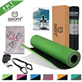 OxOFit All Purpose Yoga Mat for Men & Women Anti-Tear Sustainable TPE Material for Yoga, Meditation, Pilates & Floor Exercises 6ft x 2ft x 6mm Thick Mat