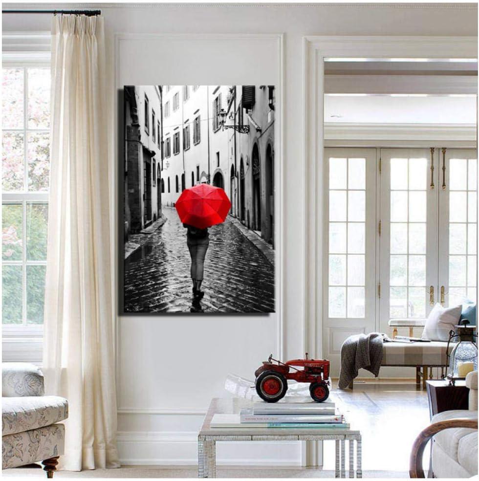 Impresión Realista Días lluviosos Paisaje Lienzo ImpresiónDigital HD Mujer con un paraguas rojo Ciudad pe Decoración para el hogar Cuadros Imagen