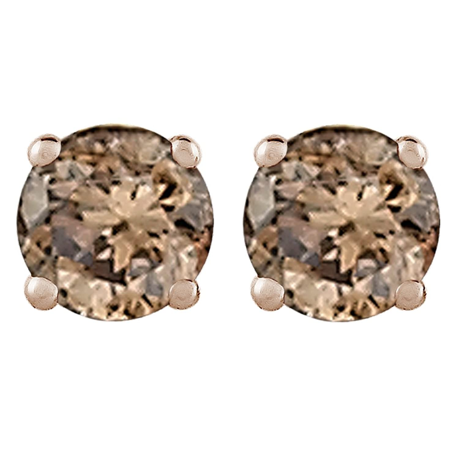 rose jewelry color chocolate stud diamond earrings gold