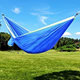 Double Camping Hammock Blue & Green by Sujonna Portable Lightweight Parachute Nylon Hammocks for Outdoors Backpacking Survival or Travel