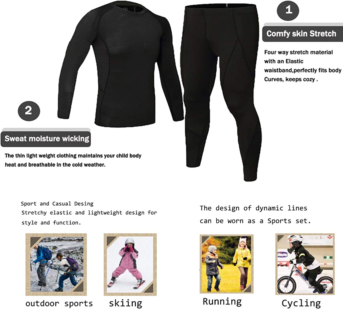 Kids Base Layer Set Compression Long Sleeve Soccer Practice T-Shirt and Pants 2Pcs