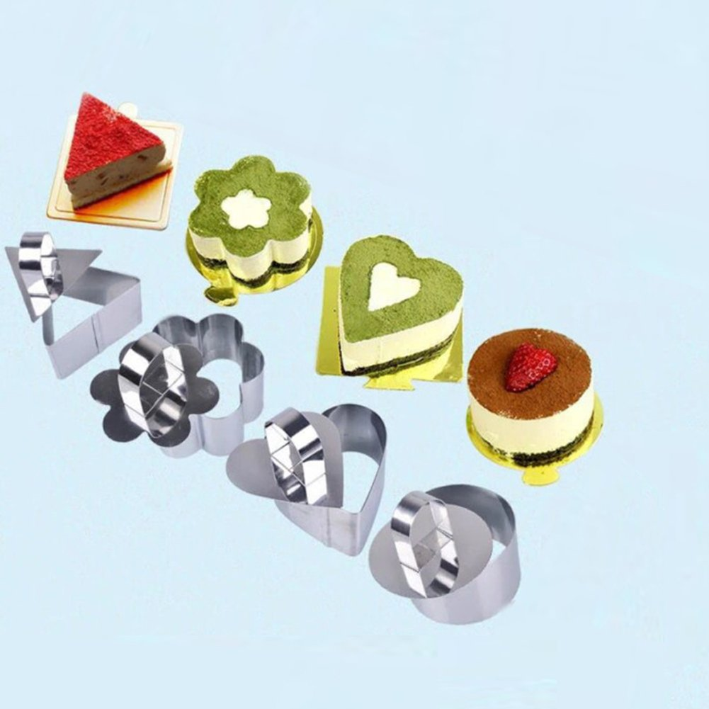 Stainless Steel 8 Pcs Set Dessert Rings:4 Covers & 4 Rings (1 Round,1 Heart,1 Plum,1 Triangle) Mousse and Pastry Mini Baking Mold with Pusher