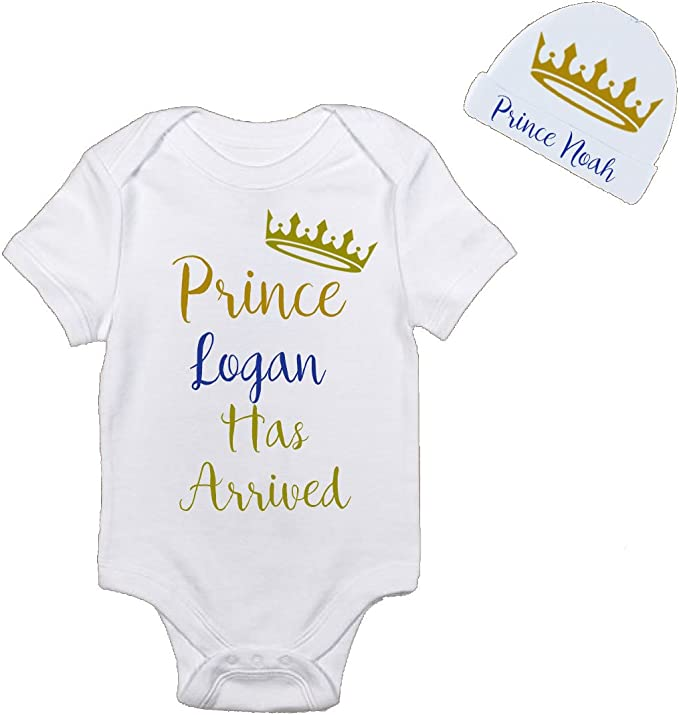 Crown Prince Princess Unisex Available Personalised Baby Has Arrived Sleepsuit
