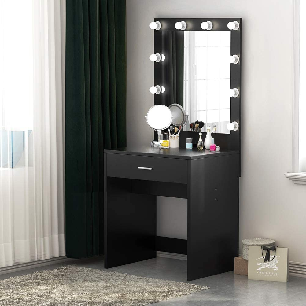 Tribesigns Vanity Set with Lighted Mirror, Makeup Vanity Dressing Table Dresser Desk with Large Drawer for Bedroom, Black 10 Cool LED Bulbs