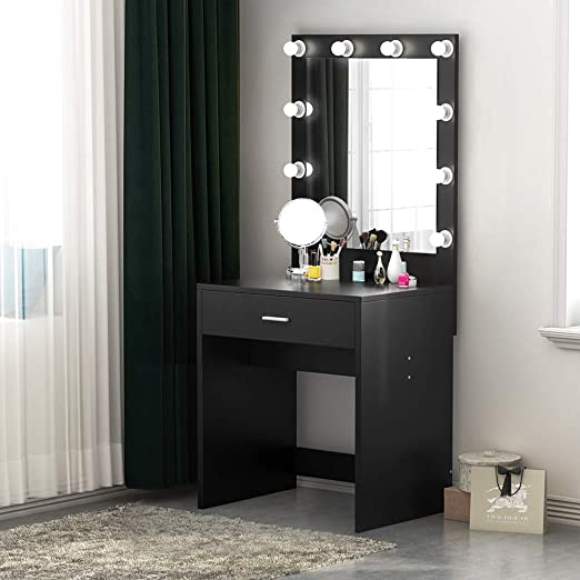 Tribesigns Vanity Set With Lighted Mirror Makeup Vanity Dressing Table Dresser Desk With Large Drawer For Bedroom Black 10 Cool Led Bulbs