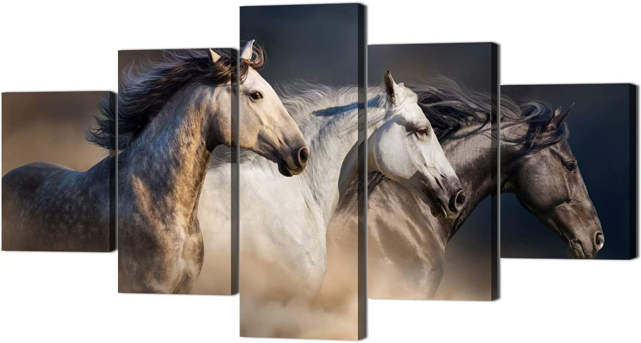 Yatsen Bridge 5 Piece Art-Oil Paintings On Canvas 5 Pieces Horse with Modern Wooden Framed Artwork Pictures Wall Decor for Living Room and Bedroom Ready to Hang 60 Wx32 H