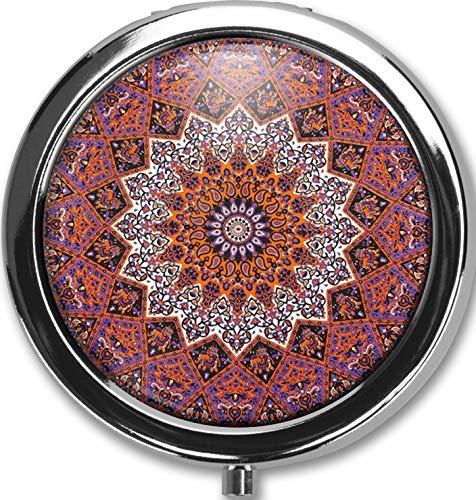 - Mandala Design New Silver Round Pill Box Decorative Metal Medicine Vitamin Organizer Unique Gift