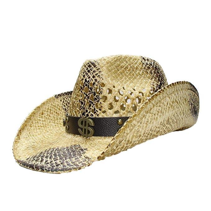 Amazon.com: Sombrero unisex de paja vaquera occidental con ...