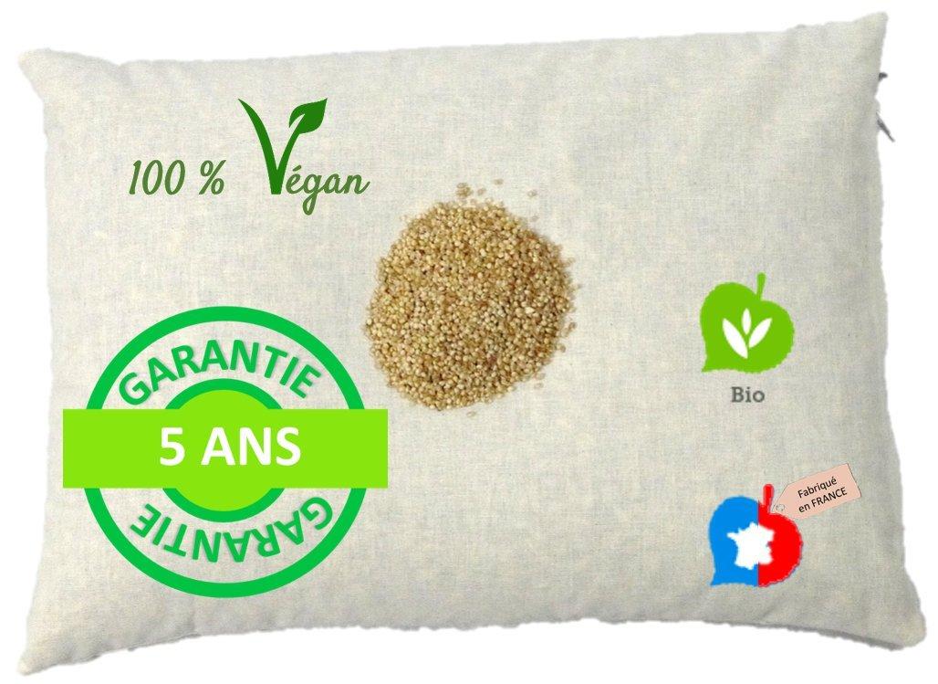 La Cocarde Verte - Oreiller Millet Bio - Oreiller Ergonomique pour la Nuque Coton Bio et balles végétales Bio - Fabrication française Garantie 5 Ans - Écru Naturel product image
