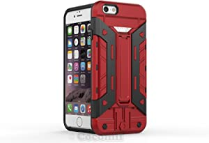 Cocomii Transformer Card Holder iPhone 6S/6 Case, Slim Thin Matte Vertical & Horizontal Kickstand ID & Credit Card Holder Slot Drop Protection Bumper Cover Compatible with Apple iPhone 6S/6 (Red)