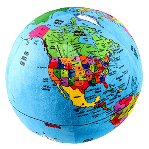 Attatoy Love-the-Earth Plush Planet Globe; 13'' Educational World Stuffed Toy with Geo-Political Markings by Attatoy