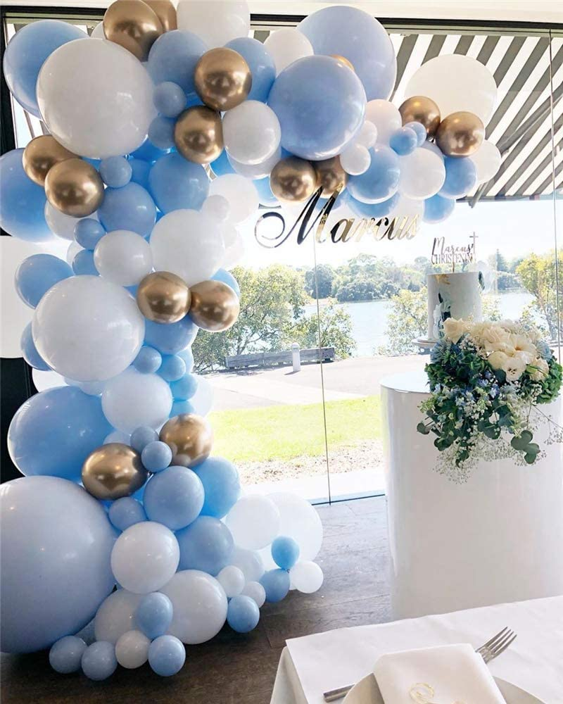 Balloon Garland Kit Blue White Gold Chrome Balloon Arch Wedding Bridal Shower Birthday Party Baby Shower Decoration